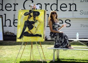Dita Omuri and artwork at The Fishes Summer Oxford Art Fair August 2015
